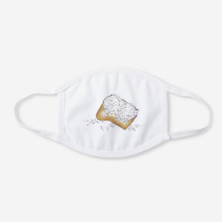 Sugary Beignet Pastry New Orleans NOLA Foodie White Cotton Face Mask