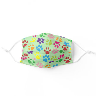 Summer Blue Pink Dog Paws On Light Lime Green Adult Cloth Face Mask
