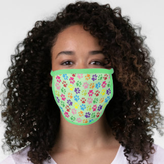 Summer Blue Pink Dog Paws On Light Lime Green Face Mask