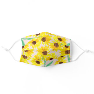 Summer cute yellow sunflowers watercolor chic pink adult cloth face mask