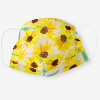 Summer cute yellow sunflowers watercolor chic pink cloth face mask