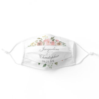 Summer Floral Blush Pink Peony Watercolor Wedding Adult Cloth Face Mask