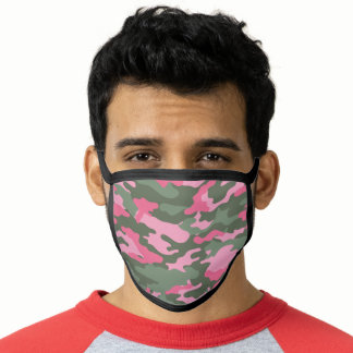 Summer Light Pink Pale Army Green Camo Pattern Face Mask