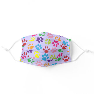 Summer Sky Blue Hot Pink Dog Paws On Light Purple Adult Cloth Face Mask