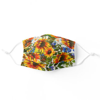 Summer Sunflower Floral Watercolor Adult Cloth Face Mask