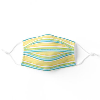 Summer Turquoise Blue Yellow White Stripes Pattern Adult Cloth Face Mask
