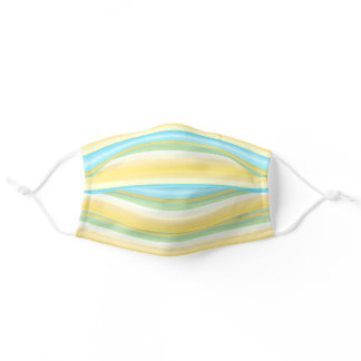 Summer Yellow Blue Turquoise Green White Stripes Adult Cloth Face Mask