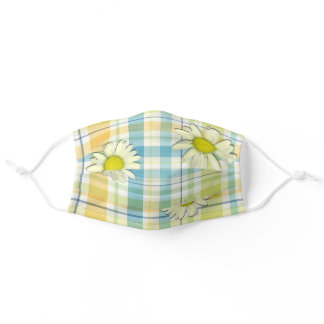 Summery plaid with Daisies Adult Cloth Face Mask