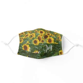 Sunflower Field Choose Joy Quote Adult Cloth Face Mask