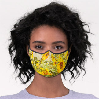 Sunflower Field Yellow Vintage Antique Country Premium Face Mask