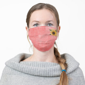 sunflower on red gingham adult cloth face mask