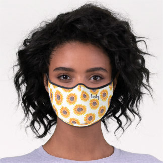 Sunflower Pattern Personalized Premium Face Mask