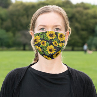 Sunflower pattern - Yellow Sunflowers on Black Adult Cloth Face Mask