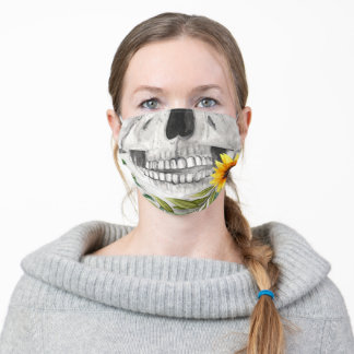 Sunflower Skull Jaw Gothic Adult Cloth Face Mask