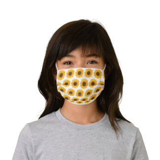 Sunflower Watercolor Floral Pattern Kids' Cloth Face Mask