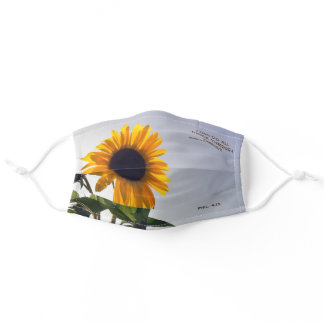 Sunflower with I can do all things through Christ Adult Cloth Face Mask