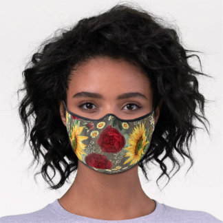 Sunflowers and Burgundy Red Roses Rustic Country Premium Face Mask