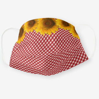 Sunflowers and Red Gingham Pattern Adult Cloth Face Mask