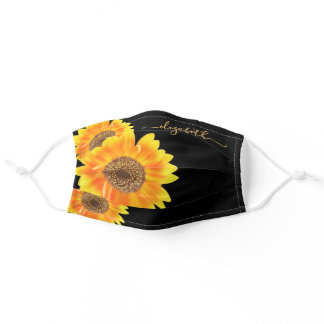 Sunflowers black yellow orange golden monogram adult cloth face mask