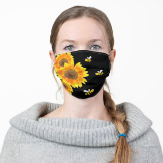 Sunflowers black yellow orange happy bees adult cloth face mask