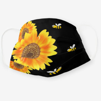 Sunflowers black yellow orange happy bees cloth face mask