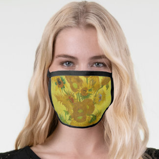 Sunflowers by Van Gogh Painting Art Yellow Brown Face Mask