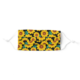 Sunflowers on Black Adult Cloth Face Mask