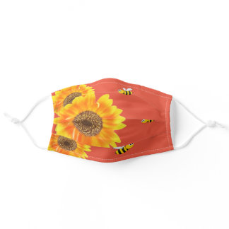 Sunflowers yellow orange happy bees fall adult cloth face mask