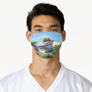 Sunlit Barn Study Impressionistic Oil Painting Adult Cloth Face Mask
