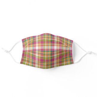Sunny Orange Pink Green White Tartan Check Pattern Adult Cloth Face Mask
