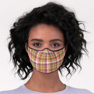 Sunny Orange Pink Green White Tartan Check Pattern Premium Face Mask