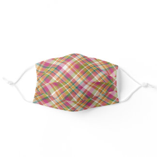 Sunny Orange Pink Green White Tartan Plaid Pattern Adult Cloth Face Mask