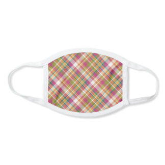 Sunny Orange Pink Green White Tartan Plaid Pattern Face Mask