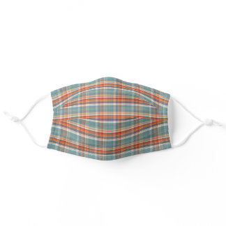 Sunny Orange Teal Blue White Tartan Plaid Pattern Adult Cloth Face Mask