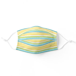 Sunny Turquoise Blue Yellow White Stripes Art Adult Cloth Face Mask