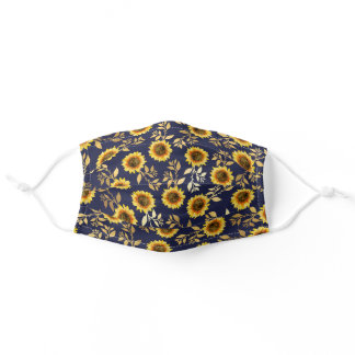 Sunny Yellow Gold Navy Sunflowers Leaves Safety Adult Cloth Face Mask