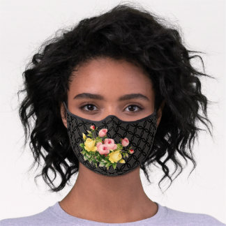 Sunny Yellow Pastel Pink Roses Floral Art On Black Premium Face Mask
