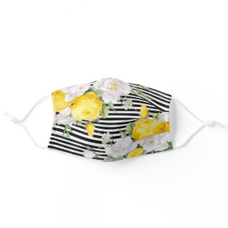 Sunny Yellow Roses Floral On Black White Stripes Adult Cloth Face Mask