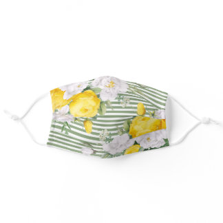 Sunny Yellow Roses Floral On Green White Stripes Adult Cloth Face Mask