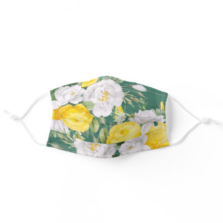 Sunny Yellow White Roses Floral Art Green Foliage Adult Cloth Face Mask