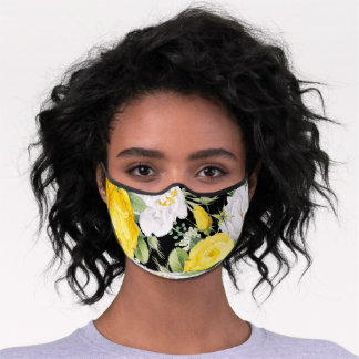 Sunny Yellow White Roses Floral Leaves On Black Premium Face Mask