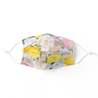 Sunny Yellow White Roses Floral Leaves On Pink Adult Cloth Face Mask