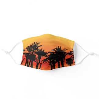 Sunset and Palm Trees Cool Summer Adult Cloth Face Mask