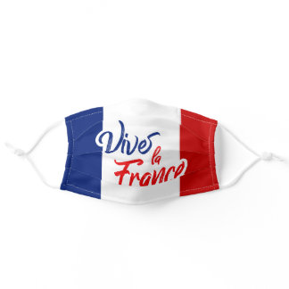 """Supportive """"Vive la France"""" French Flag Adult Cloth Face Mask"""