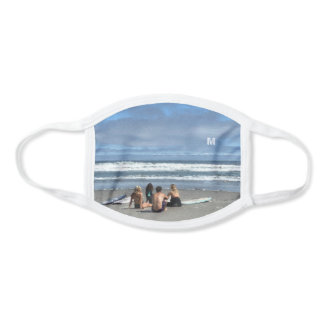 Surfers Surfboards Beach Waves Monogram Surfing Face Mask