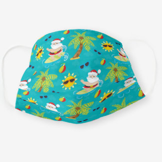 Surfing Santa Tropical Christmas Cloth Face Mask