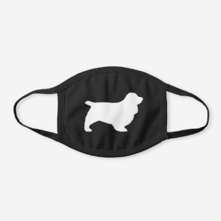Sussex Spaniel Dog Breed Silhouette Black Cotton Face Mask