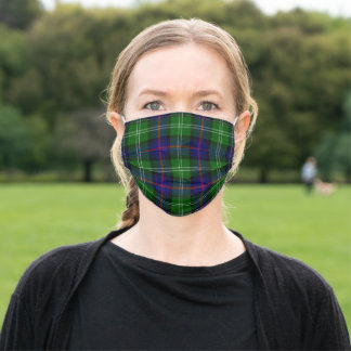 Sutherland tartan blue green plaid adult cloth face mask