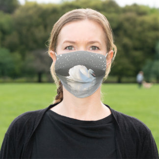 Swan on Snowy Lake Adult Cloth Face Mask