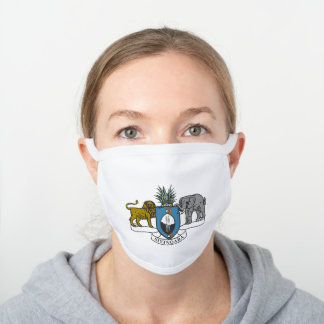 Swazi coat of arms white cotton face mask